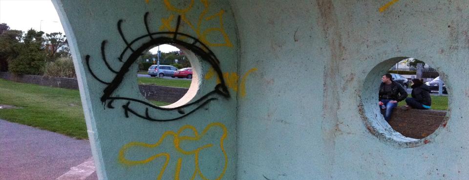 Graffiti seafront shelter Clontarf Dublin